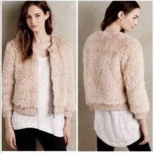 Anthropologie Jacket Coat Pink Faux Fur Sm EUC